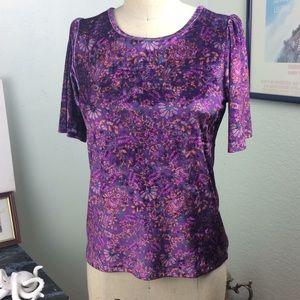 Lucky Brand Purple Soft Paisley Velvet Keyhole Top